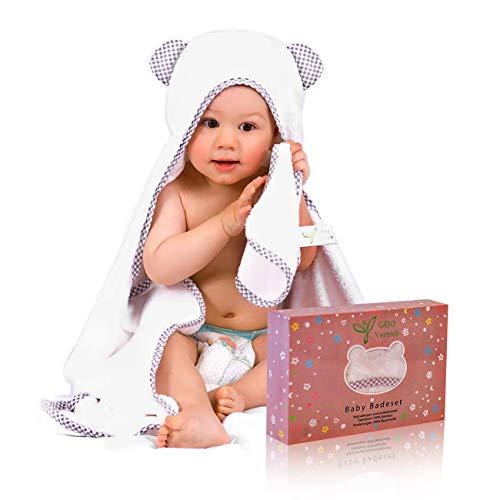 Kapuzenhandtuch Baby, 100{e44bd924c33a326ba945fcd3c169418aac9f4112712e8ffa58ecf277ba32ebc3} Bambus, weiß/grau, Baby Handtuch für Neugeborene 100x70cm + GRATIS Waschlappen, Baby Erstausstattung, Badehandtuch mit Kapuze, Kinderhandtuch extra groß Jungen und Mädchen