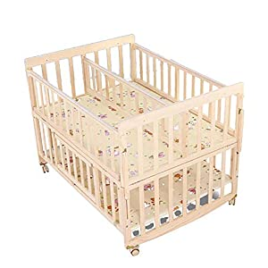 VBARV Solid Wood Environmentally Friendly Paint-free Twin Crib, Baby Double Child Bed, Queen Size Bed, Matching Seven-piece Set   1