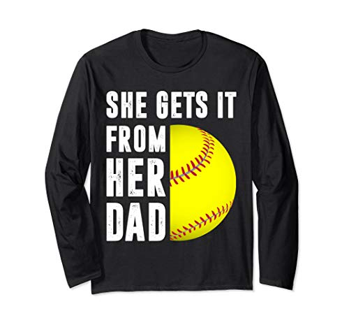 She Gets It From Her Dad Vintage Gift Softball Dad Gift Langarmshirt -