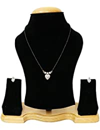 Navya American Diamond Gold Plated Heart Mangalsutra With Earrings For Women