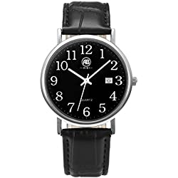 AIBI Waterproof Unisex Black Dial Dress Watch with Date Function