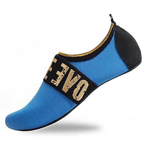 HMIYA Badeschuhe Strandschuhe Wasserschuhe Aquaschuhe Schwimmschuhe Surfschuhe Barfuß Schuhe für Damen Herren(Blau,Größe36 37)