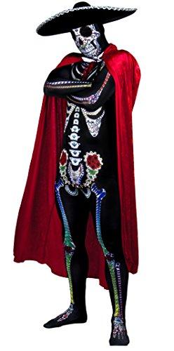 HALLOWEEN ODER KARNEVAL/FASCHING PARTY KOSTÜM FÜR MÄNNER = DAY OF THE DEAD VERKLEIDUNG = MÄNNER ODER FRAUEN KOSTÜM = VERKLEIDUNG DAY OF THE DEAD - GANZKÖRPERANZUG MIT BUNTEN KNOCHEN AUFDRUCK - Braut Bräutigam Halloween-kostüme Leiche Und