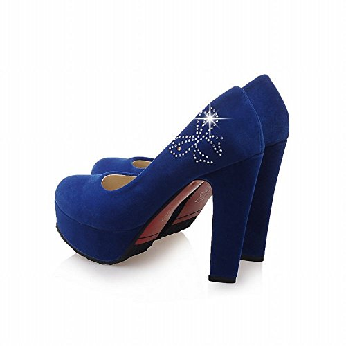 Mee Shoes Damen high heels Plateau runde Pumps Blau