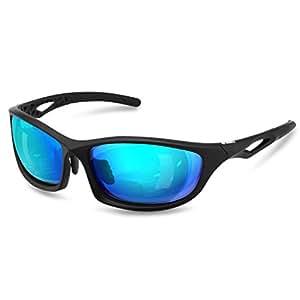 Enkeeo Occhiali da Sole Sportivi Polarizzati con 100% Protezione Anti- UV400 Telaio TR90 per Uomo Donna Ciclismo Pesca Golf Jogging ed Altri Sport all'Aria Aperta, Blu