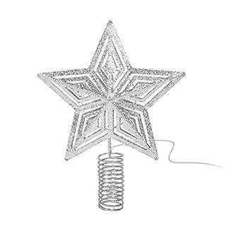 Meinposten-Beleuchtete-Weihnachtsbaumspitze-Tannenbaumspitze-Christbaumspitze-Baumspitze-mit-Timer-LED-warmwei-Silber