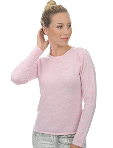 Pull cachemire femme col rond rose clair