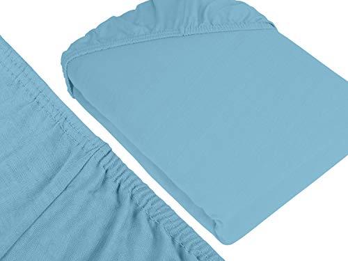 npluseins klassisches Jersey Spannbetttuch - erhältlich in 34 modernen Farben und 6 verschiedenen Größen - 100% Baumwolle, 90-100 x 200 cm, hellblau - 3