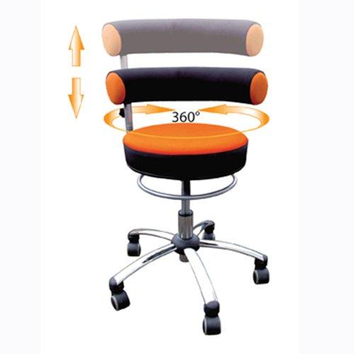 Standard-sitzhöhe (Sanus Gesundheitsstuhl mit höhenverstellbarer Lehne, Sitzhöhe standard (42 - 51 cm), orange/schwarz)