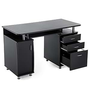 songmics lcd871b bureau informatique meuble de bureau pour ordinateur 3 tiroirs tablette. Black Bedroom Furniture Sets. Home Design Ideas