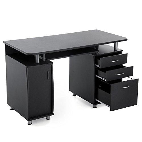 Songmics Computertisch mit Tastaturauszug Einem Unterschrank, MDF,Schwarz,121 x 60 x 76 cm