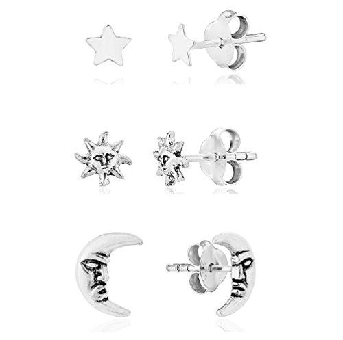 DTPsilver - Damen - Ohrringe 925 Sterling Silber - Mann im Mond - Sonne - Stern - Set Paare 3 - Ohrstecker