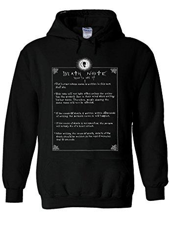 Death Note How To Use Anime Manga Black Men Women Unisex Hooded Sweatshirt Hoodie-M
