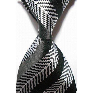 Handgemachte Weiß-gestreift Seide Krawatte (FYios®Neue gestreift weiß Schwarz Herren Krawatte Krawatte #3016, One-Size, One-Size)
