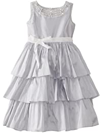 Us Angels Little Girls' Party Dress with Tiered Bottom and Tie Waist