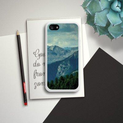 Apple iPhone 4 Housse Étui Silicone Coque Protection Paysage alpin Montagne Chaîne de collines Housse en silicone blanc