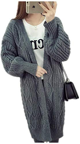 Strickjacke Damen Lang Dicke Warm Strickmantel Elegante Vintage Fashion Bekleidung Locker Lässige...
