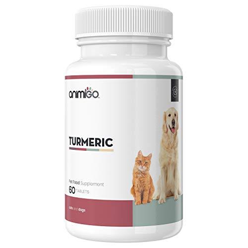 Kurkuma Kapseln für Hunde und Katzen - Mit Premium Curcuma Pulver, Piperin, MSM, Zimt & Glucosamin, Curcumin für Gelenke & Knochen bei Katze & Hund, Kurkumin Extrakt - 60 Tabletten hochdosiert