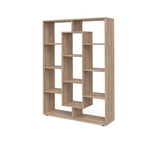 Eiche Runde Bücherregal Schrank (VICCO Raumteiler 11 Fächer Bücherregal Standregal Aktenregal Hochregal Aufbewahrung Regal (Sonoma Eiche))