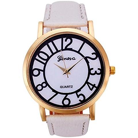 vovotrade Patron de banda de cuero analogico digital de cuarzo relojes de moda blanco