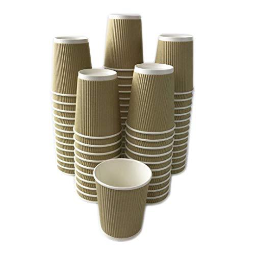 Black Cat Avenue 50 Stück Isolierter geriffelter Einweg-Kaffeebecher für heiße Getränke, Kaffee, Kakao, Schokolade, Latte, Cappuccino 8 oz braun -