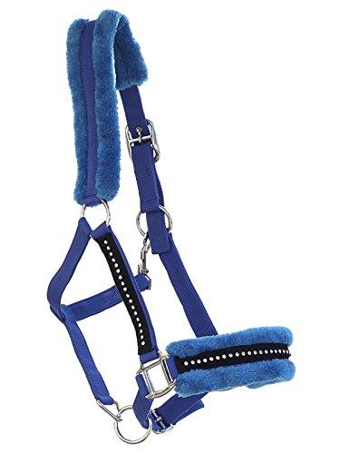 blau Halfter Diamonds Straßsteine Kunstfell chic funkelnd flauschig Ponys Riding