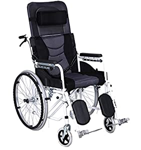ACEDA Transport Wheelchair With Lightweight Thick Steel Frame,Folding Chair Is Portable,Front And Rear Brake,Seat Width 45Cm,Adjustable Backrest,Foot Pedal Height Adjustable