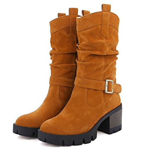 TAOFFEN Femmes Slouch Boots Mi-Mollet Plateforme Talon Bloc Bottes A Enfiler Yellow-Brown