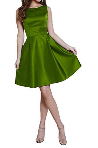 Ivydressing Damen Einfach Rundkragen Kurz Satin Festkleid Promkleid Abendkleid Grün