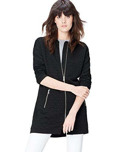 FIND Bomberjacke Damen langer Schnitt und gestepptes Muster, Schwarz (Black), 34 (Herstellergröße: X-Small)