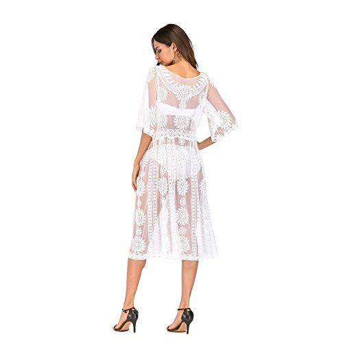 APJJ Damen Beachwear Bikini Bluse weiß Spitze durchbrochen Strickjacke Sonnenschutz - Armani Kinder Kleidung