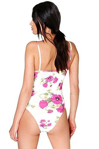 Turquoise Femmes ambre Floral Strié Thong Bodysuit Turquoise