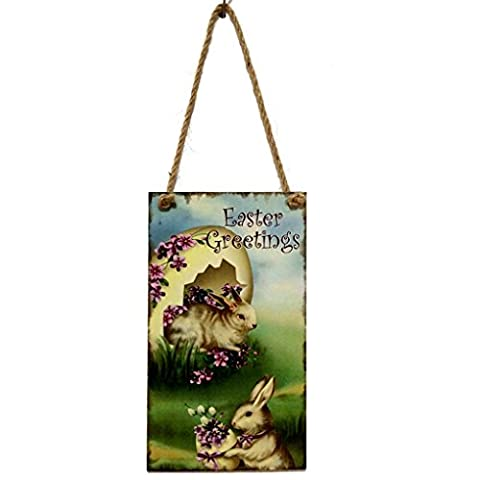 LUFA Salutations de Pâques Egg Rabbit Wooden Hanging Board Accueil Party Door Wall Hanger
