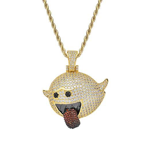 nger Halskette Kupfer eingelegten Zirkon Cartoon Bösewicht Zunge Anhänger Halskette 3mm24 Zoll Seil Kette Hip Hop Schmuck,Gold ()