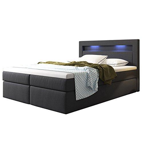 ArtLife Boxspringbett Memphis mit Bettkästen 180 x 200 cm (Dunkelgrau) - Premium-Doppelbett mit Webstoff inkl. Bonell-Federkernmatratzen, Kopfteil, LED-Beleuchtung & Topper