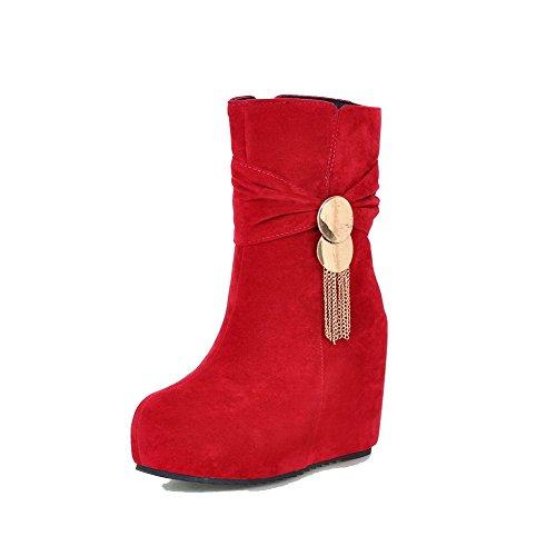 AllhqFashion Damen Reißverschluss Rund Zehe Hoher Absatz Stiefel mit Anhänger Rot