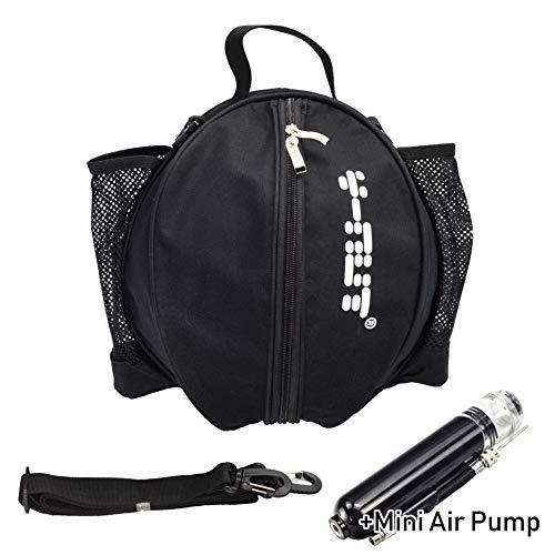 Y-Nut Bolsa de Baloncesto con Bomba de Aire Manual de tamaño de Bolsillo, Mochila de Baloncesto para Deportes al Aire Libre, Ideal para Llevar Baloncesto, Pelota de fútbol, Voleibol, Color Negro