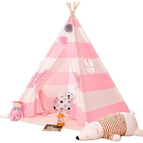 SUWIND Indian Tipi Zelt für Kinder, Indoor und Outdoor Canvas Canopy Spielhaus | Spielzelt Kinderzelt mit Seitenfenster für Jungen Mädchen-rosa Streifen