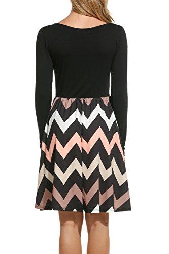 Meaneor Damen Skaterkleid Basic Kleid A-Linie Kleid Mit Gestreift Rock O-Ausschnitt Stretch Schwarz+Rosa Streifen