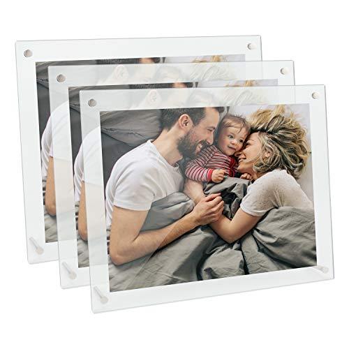 TOROTON Acryl Bilderrahmen, 20 x 15 x 2 cm, Glasklar, aus hochwertigem Acryl, Vertikaler oder Horizontaler Schräger Doppelseitiger Bilderrahmen - 3 Stück