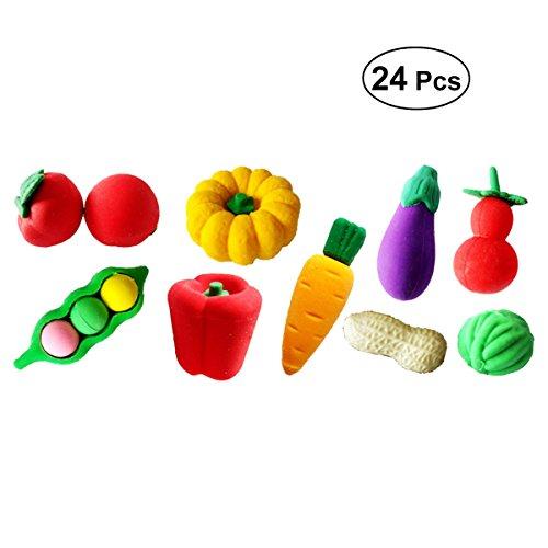 TOYMYTOY 24 Stück Kawaii Radiergummi 3D Obst Gemüse Radiergummi Kreative Schulbedarf Kinder Geschenk (Zufällige Stil)