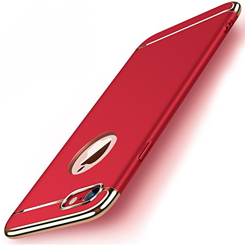 """Apple iPhone 8 (4.7"""") Hülle, MSVII® 3-in-1 Design PC Hülle Schutzhülle Case Und Displayschutzfolie für Apple iPhone 8 (4.7"""") - Gold JY50178 Rot"""