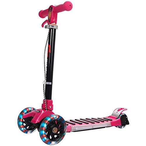 Scooter Tretroller Roller Kinderroller Cityroller Kickroller Kickscooter klappbar Big Wheel höhenverstellbar mit 3 blinkenden Räder und Musik Farbwahl (Rosa)