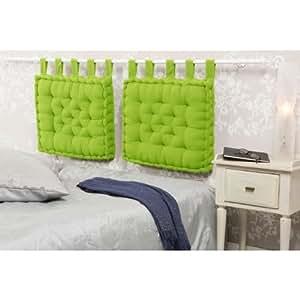 Tete de lit - Coussin capitonné vert - 50x60x6 cm