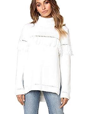 Punto Jersey Cuello Alto Suelto Manga Larga Tassel Jerseys De Sueter Sweater para Mujer