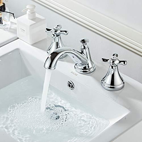 Grifo mezclador para lavabo de baño con dos asas y tres agujeros, cromo...