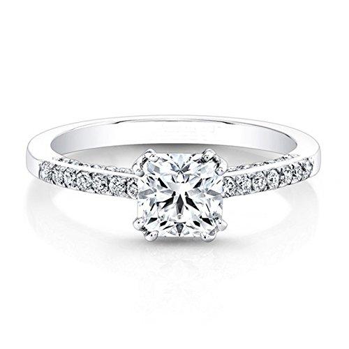 0,81ct Moissanit Verlobung Diamant Hochzeit Ring 14K Weiß Gold Solitär Jahrestag Ringe Größe I, J, K L M N O P Q R S T (N 1/2) Solitaire Engagement Ring 14k