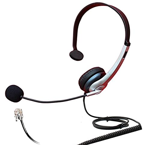 4Call H163MA Corded RJ Telephone Headset Mono with NC Microphone for Aastra Nortel Nec Mitel ShoreTel Toshiba Siemens GE InterTel Sprint Talkswitch Iwatsu Packet8 ESI Allworx 3Com Office IP Phones