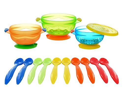 Munchkin 3 Pack Stay-Put Suction Bowls with 10 Infant Spoons 41GShqOJi2L