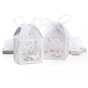 25 Pezzi Carta per bomboniera Confetti di Battesimo, Matrimonio, Comunione, Nascita Farfalla Fiore Traforato con Nastro di Raso